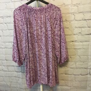Eloquii Tops - Belted Button Down Blouse- pink/purple